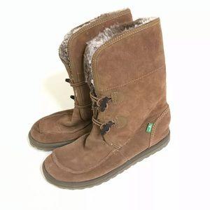 Sanuk Fur Boots Women Size 8 Tan